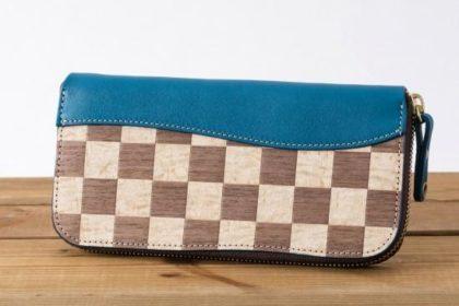 木との異素材MIXが楽しめる革財布
