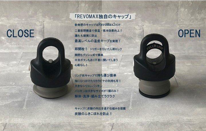 REVOMAX2が炭酸飲料を持ち運べる理由は、独自構造のキャップREVOMAX2が炭酸飲料を持ち運べる理由は、独自構造のキャップ