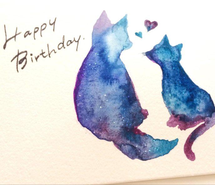 お友達へのバースデーカードも水彩画で描いてみては